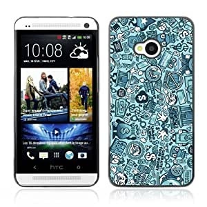 Designer Depo Hard Protection Case for HTC One M7 / Vintage Retro Pattern