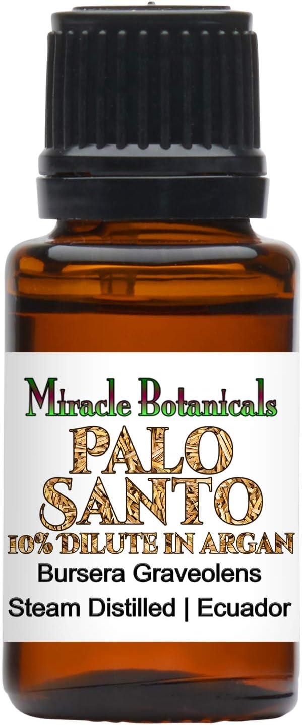 Miracle Botanicals Palo Santo Essential Oil 10% Dilute in Argan - Therapeutic Grade Bursera Graveolens (10%) in Virgin Organic Argan (90%) - 15ml