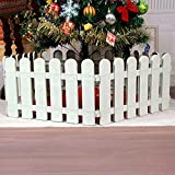 CHICIEVE 4 pcs White Plastic Fence Christmas Xmas Tree Wedding Party Decoration Miniature Home Garden Border Grass Lawn Edge Fence (One Pack is 200cm in Total)