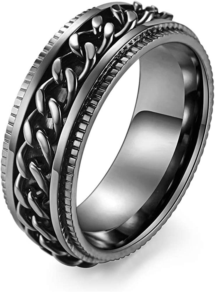 ALEXTINA Men's Women's 8MM Stainless Steel Chain Spinner Ring Wedding Band (Size 7-12)