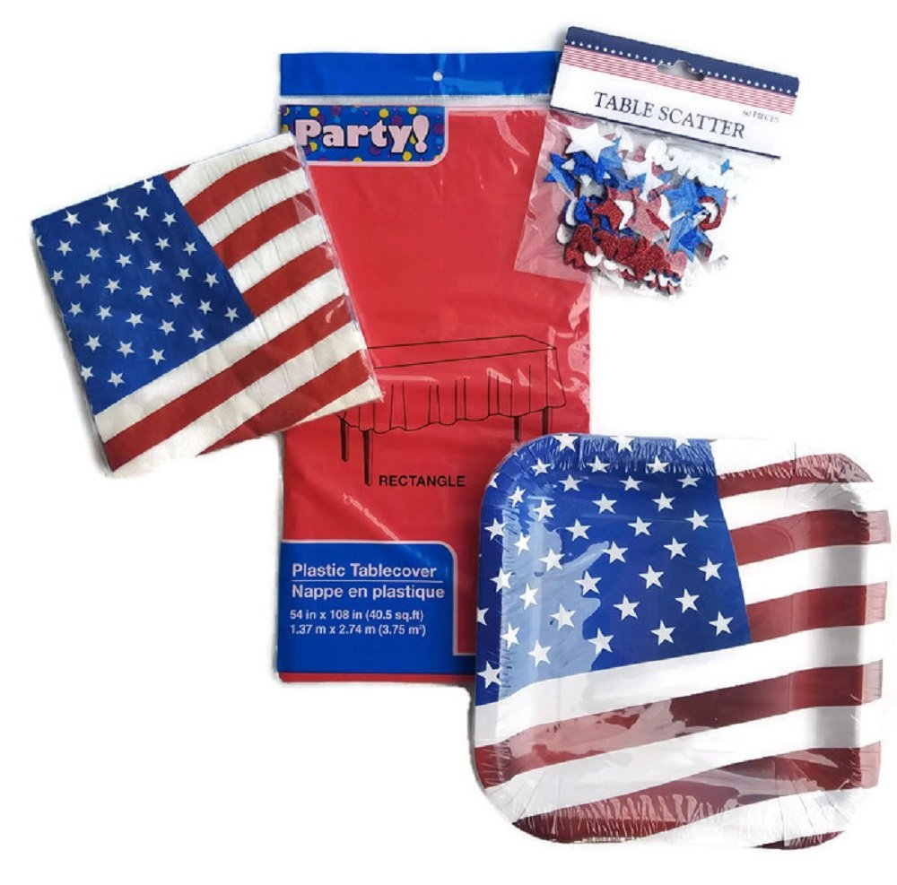 Patriotic Paper Plates and Napkins 4th of July Flag Theme Red, White and Blue Bundle of 4 Includes Paper Plates, Napkins, Tablecloth and Table Confetti