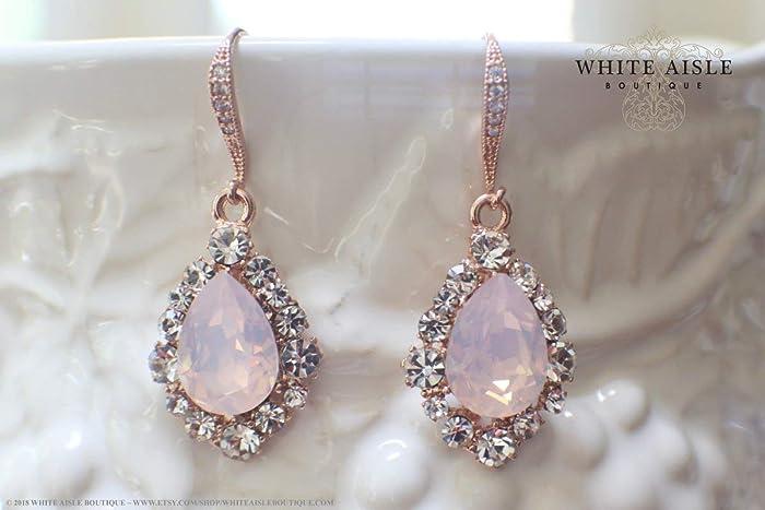 Amazon.com  Soft Pink Rose Gold Bridal Earrings Wedding Jewelry Set  Swarovski Crystal Custom Pendant Earrings Bracelet Hair Comb Hair Pins Set  Vintage ... 779ba1f8c