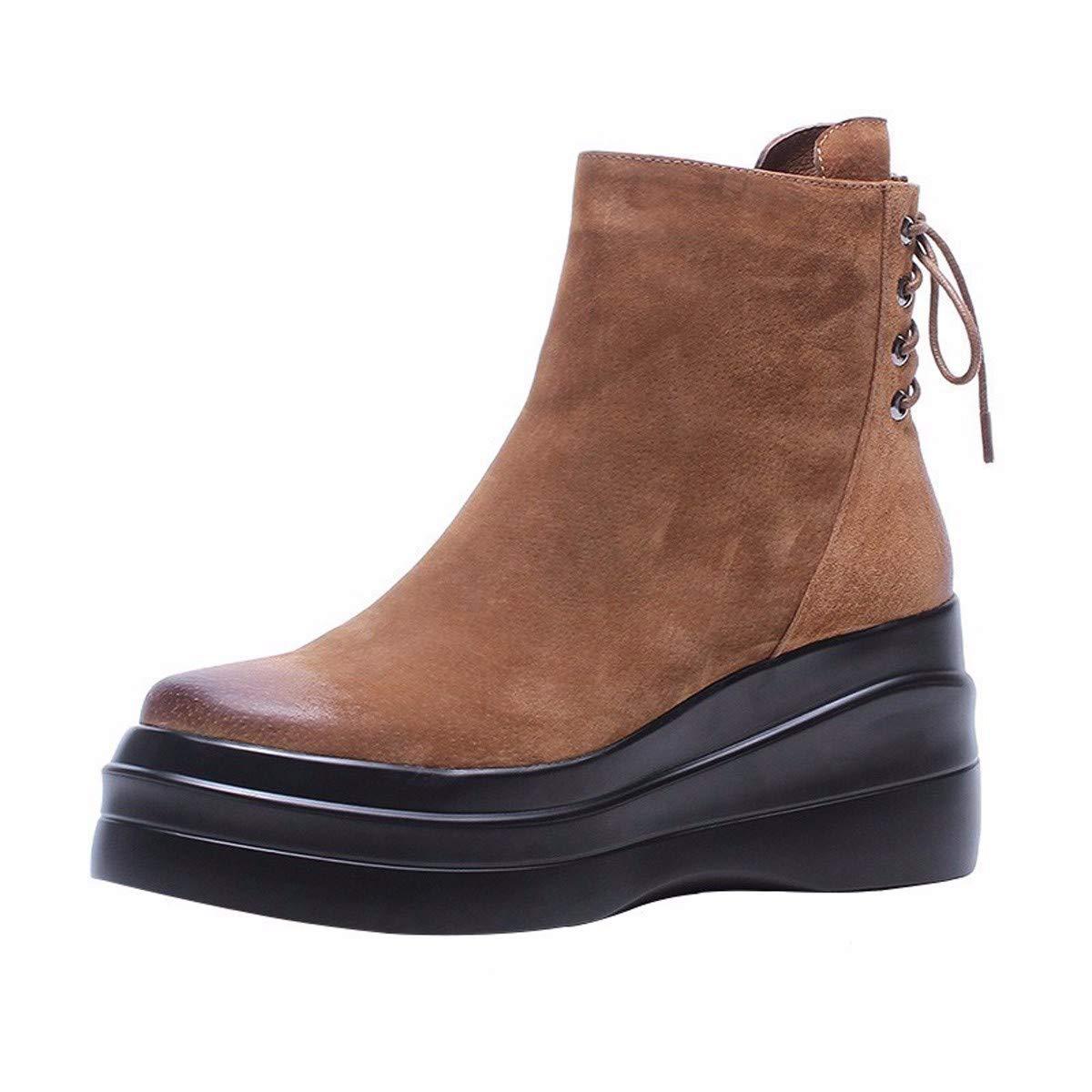 Marron HBDLH Chaussures pour femmes 9Cm Po Talon Court Bottes avec Beaucoup De Dentelles Brut éponge D'épaisseur Muffin Martin Bottes. Thirty-six