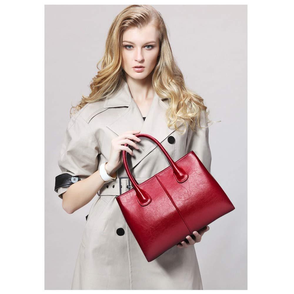 CJWWEI Damentasche Tasche Wachsleder Damen Tasche Schultertasche Umhängetasche, 34x14x24cm Handtasche (Color : Brown) Red