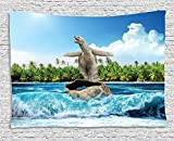 Animal Decor Tapestry, Naked Turtle left its Big Shell Surfing on its Home on the Ocean Sunny Beach Print, Wall Hanging for Bedroom Living Room Dorm, 80 W X 60 L Inches, Multi
