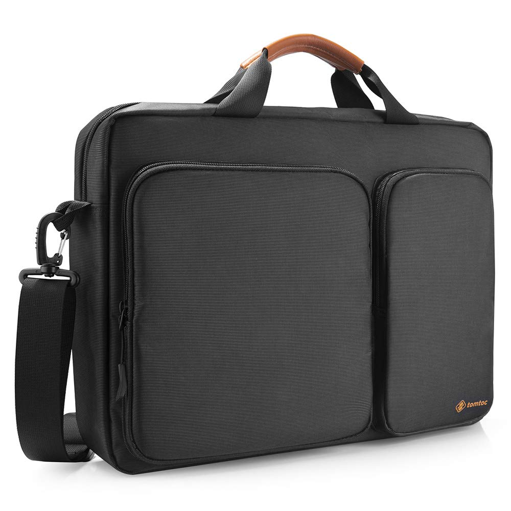 "tomtoc Travel Messenger Bag 15.6"" with Protective Laptop Compartment Briefcase Shoulder Bag Fit for 13 - 15 Inch HP Dell Acer Lenovo Asus Samsung Notebook Tablet, Black"