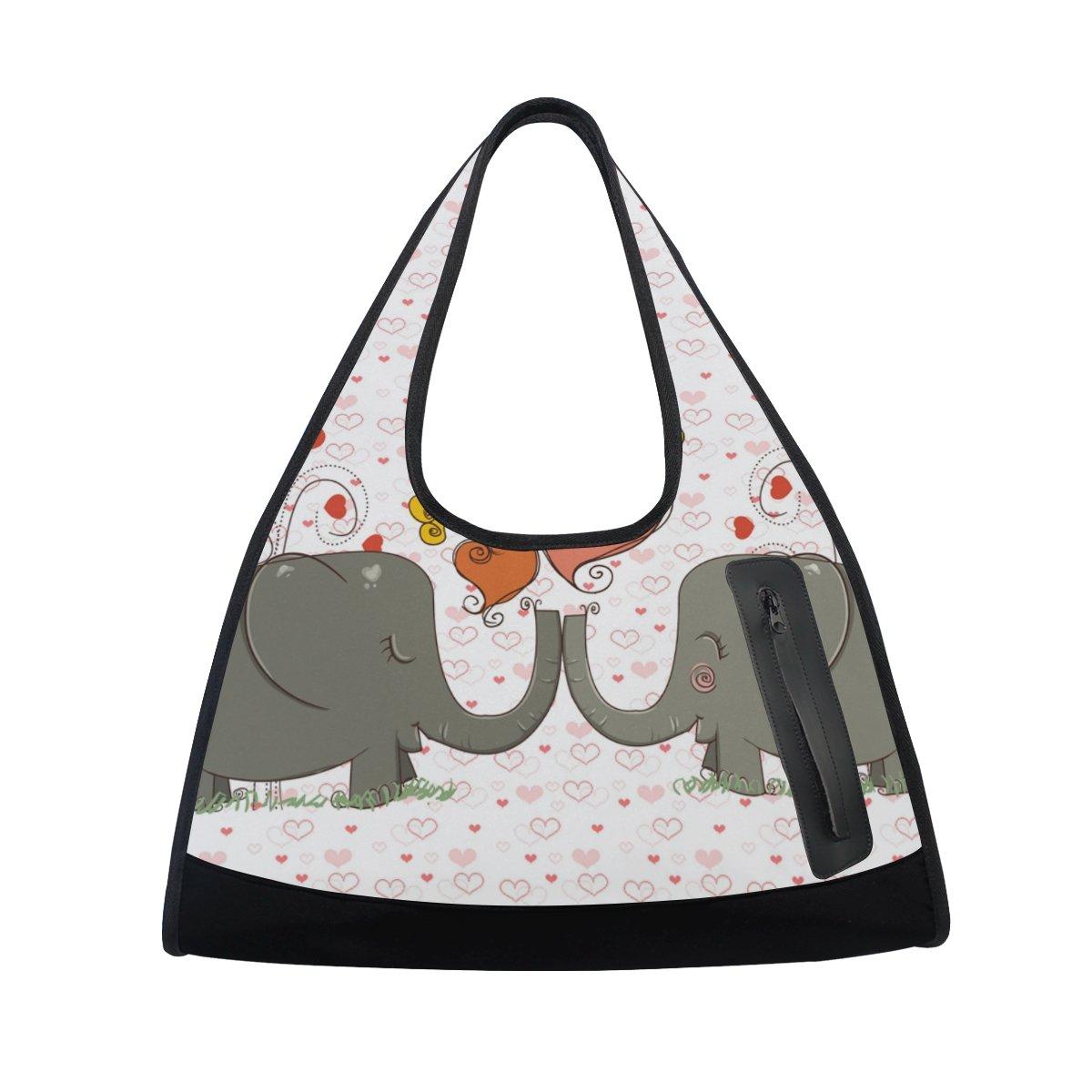 AHOMY Sports Gym Bag Elephant Love Heart Duffel Bag Travel Shoulder Bag by AHOMY (Image #2)