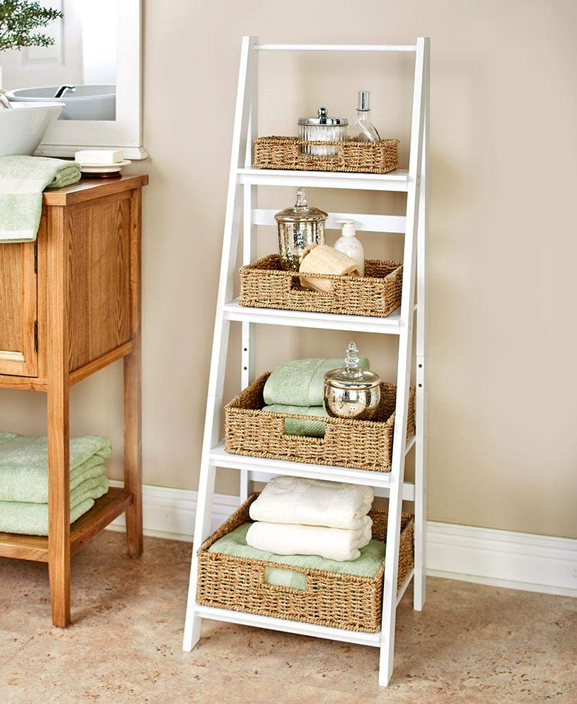Classic Farmhouse 4-Shelf Ladder - Modern Indoor Decor - White