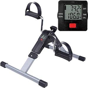 Folding Pedal Exerciser Mini Exercise Bike Portable Foot Peddler Desk Bike Arm and Leg Peddler Machine with LCD Monitor