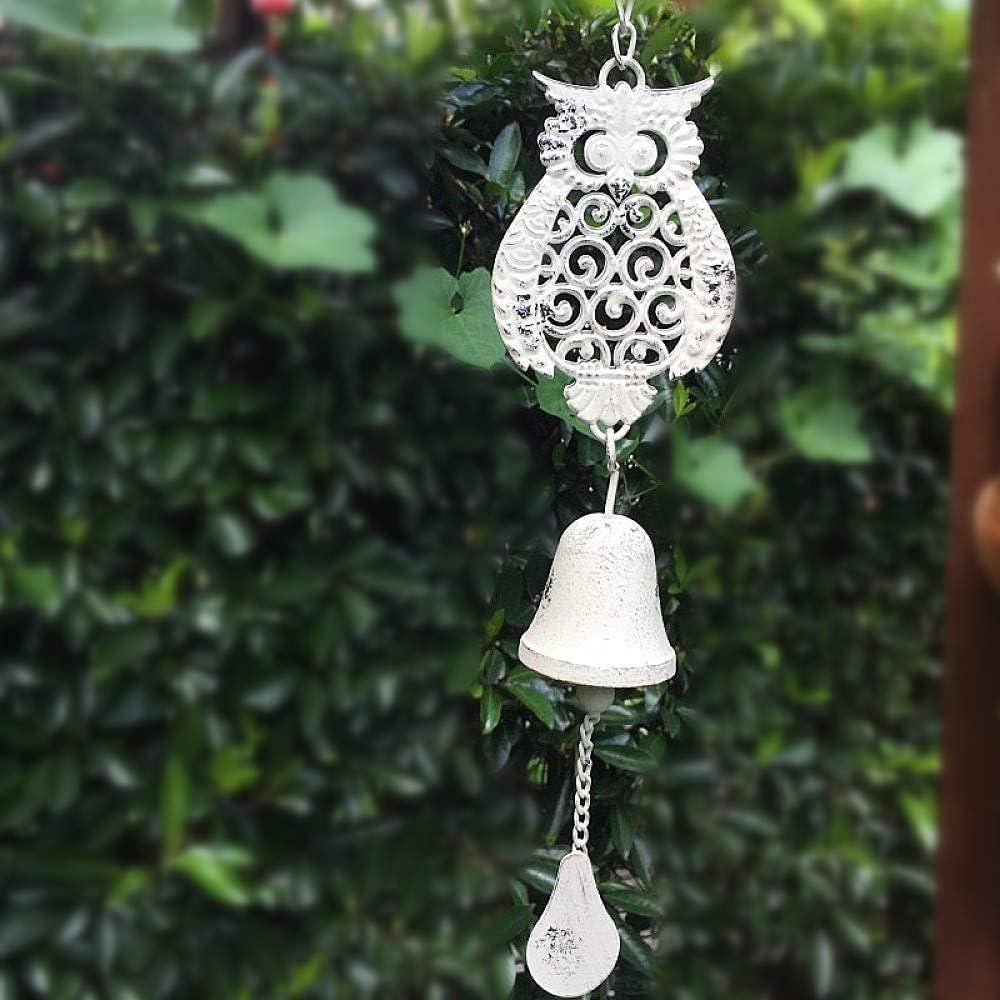 LIUSHI Vintage Wrought Iron Owl Wind Chime with Animal Bells/Mid Century Modern/Garden,White