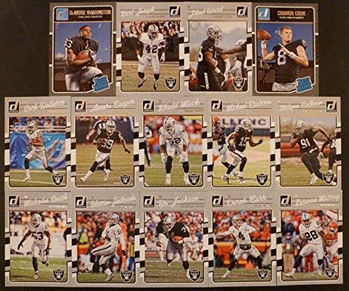 2016 Panini Donruss Football Oakland Raiders Team Set 14 Cards including DeAndre Washington RC, Karl Joseph RC, Jihad Ward RC, Connor Cook RC, and 10 other veteran superstars.