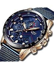 LIGE Uhr Herren Mode Armbanduhren für Herren Geschäft Kleid Lässige wasserdichte Quarzuhr für Herren mit Schwarzer Edelstahl Mesh-Band