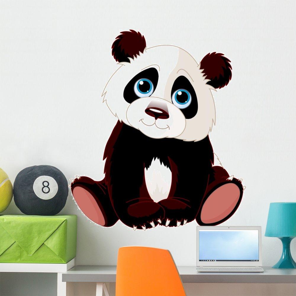 Wallmonkeys Sitting Panda Wall Decal Peel and Stick Animal Graphics (36 in H x 32 in W) WM103366