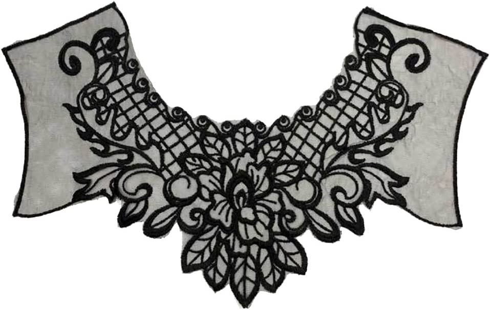 Lace Embroidered Floral Neckline Neck Collar Trim Sewing Applique Clothes Patch