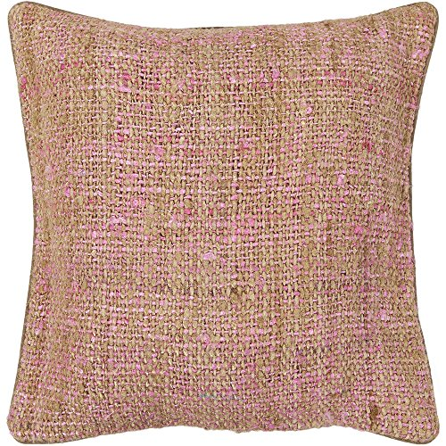 Chandra Rugs CUS28013-18 Decorative Silk Textured Fabric Pillow, 18″, Pink/Natural