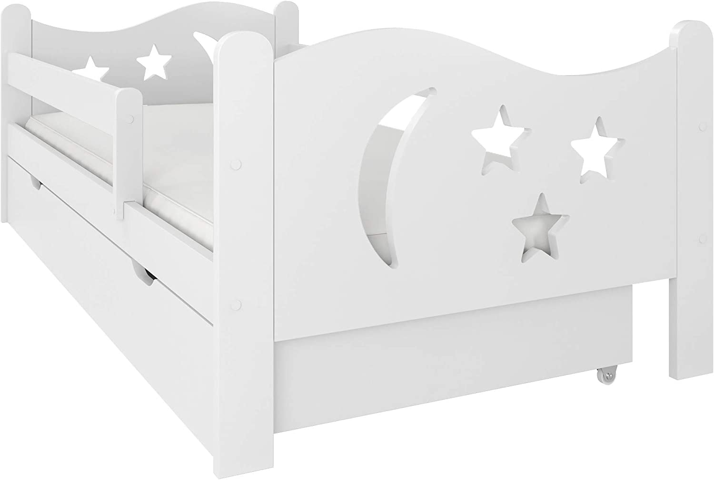 (160x80, Blanco) NeedSleep® cama niño infantil con colchón   140x80 160 x80   montessori 2 años   cama con cajones   cama bebe cabeceros infantiles   barrera cama   cama niña cama niño