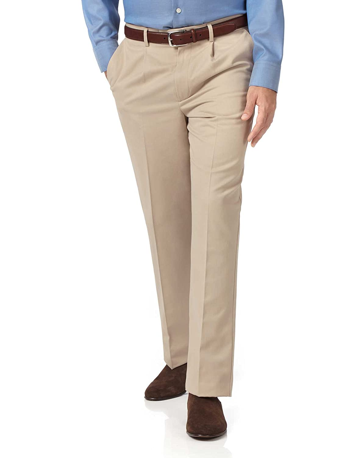 Stone Classic Fit Single Pleat Non-Iron Cotton Chino Trousers by Charles Tyrwhitt