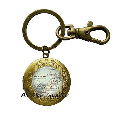 Amazon.com: Encantador Llavero Bermuda mapa Locket llavero ...