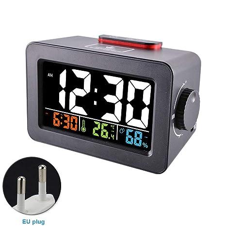 HDKHFL Escritorio electrónico Reloj Despertador Cargador de ...