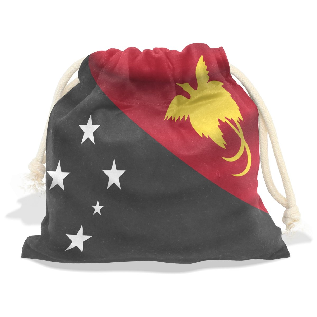 super3Dprinted Papua New Guinea Flag Velvet Drawstring Gift Bag Wrap Present Pouch Favor for Party Game Wedding, Multiple Sizes Available