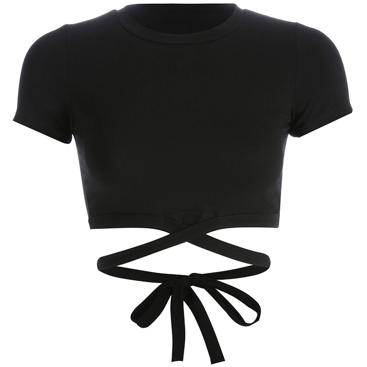 CHRISTY Y Casual Womens Hollow Out Tshirt Tops Tees Cotton Solid Tee Shirt Summer Black Short Sleeve T-Shirt
