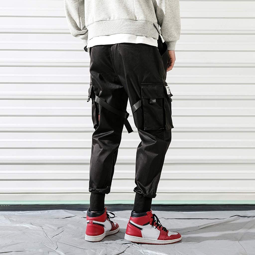 Jotebriyo Men Casual Stretch Knit Pockets Plain Mid Waist Slim Fit Zip-Up Long Pants