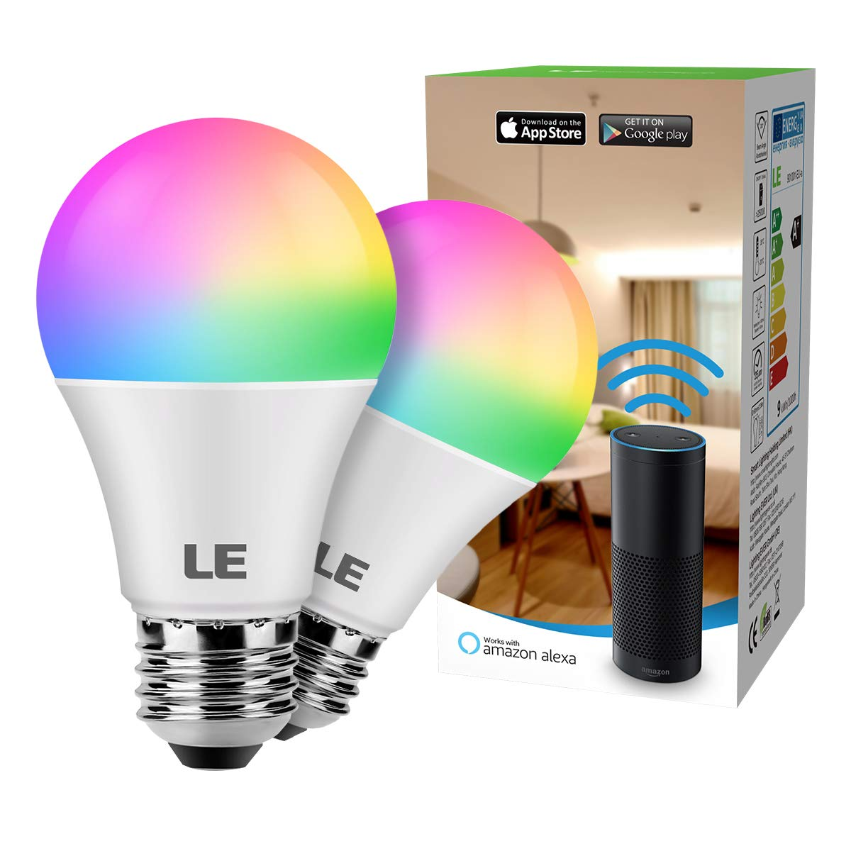 kompatibel mit Alexa LE WiFi Smart Lampe Kein Gateway erforderlich E27 RGB mit einstellbarer Helligkeit 2700-6500K ,Google Home und IFTTT Fernbedienung Echo, Echo Dot 9W Dimmbar Smart LED Birne
