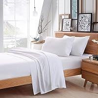 "CCWB Cotton Craft 600 Thread Count 100% Egyptian Cotton 4 Piece Bed Sheet Set Solid Fits 16"" Deep Pocket Mattress Bed Sheet Set (King White)"