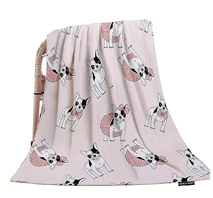 HGOD DESIGNS Manta para Perro, Manta Decorativa con diseño de Bulldog francés con Ropa Rosa