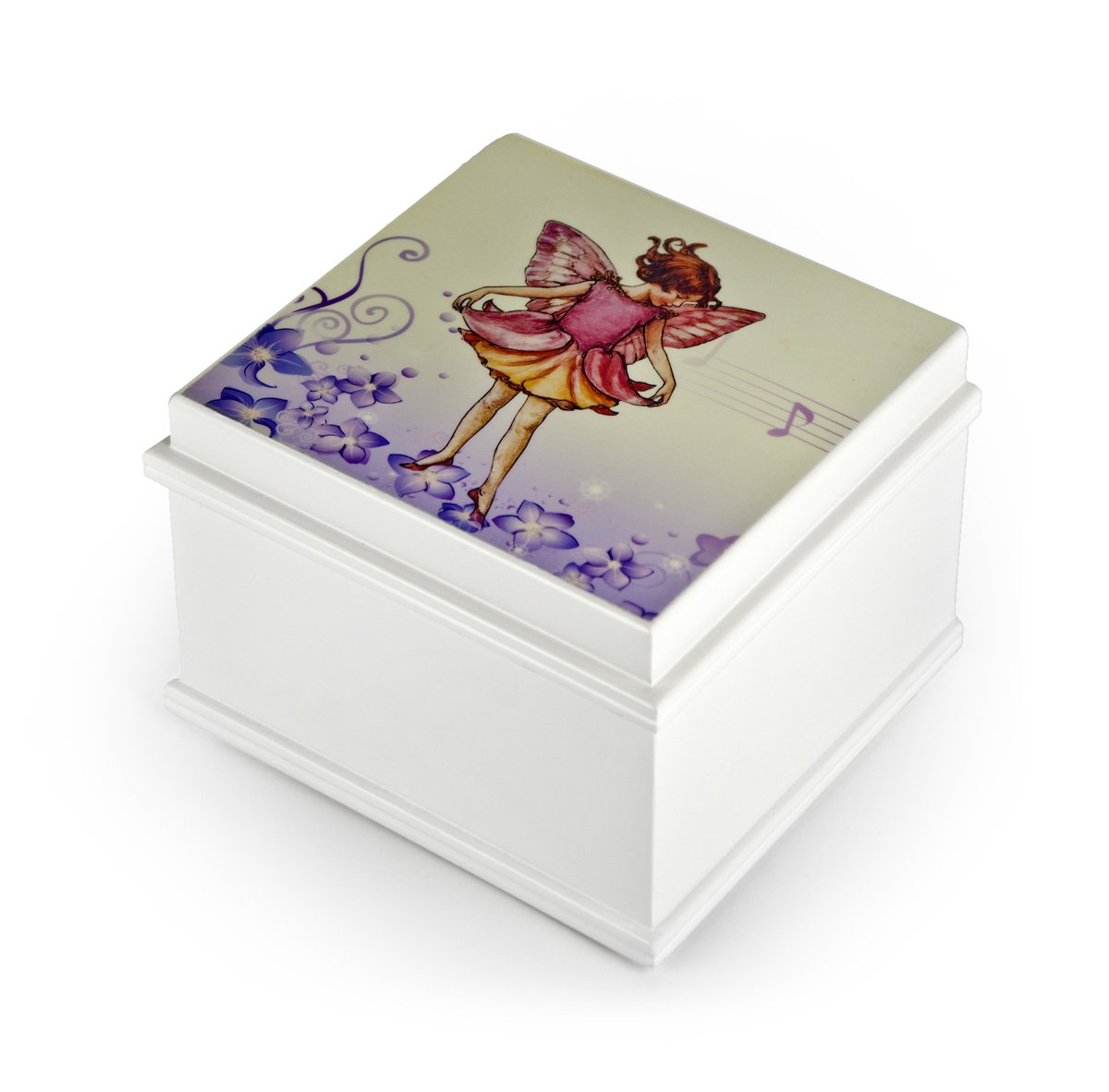 Matte White Enchanted Fairy 18 Note Ballerina Musical Jewelry Box - Over 400 Song Choices - Choose Your Song English Country Garden