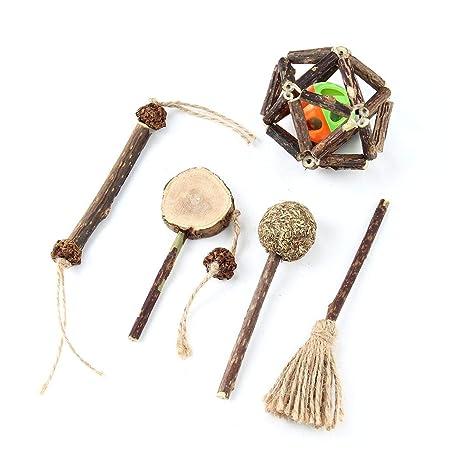 Umiwe Cat Molar Stick Set de Madera, Dientes Naturales de Catnip, Limpieza de Juguetes