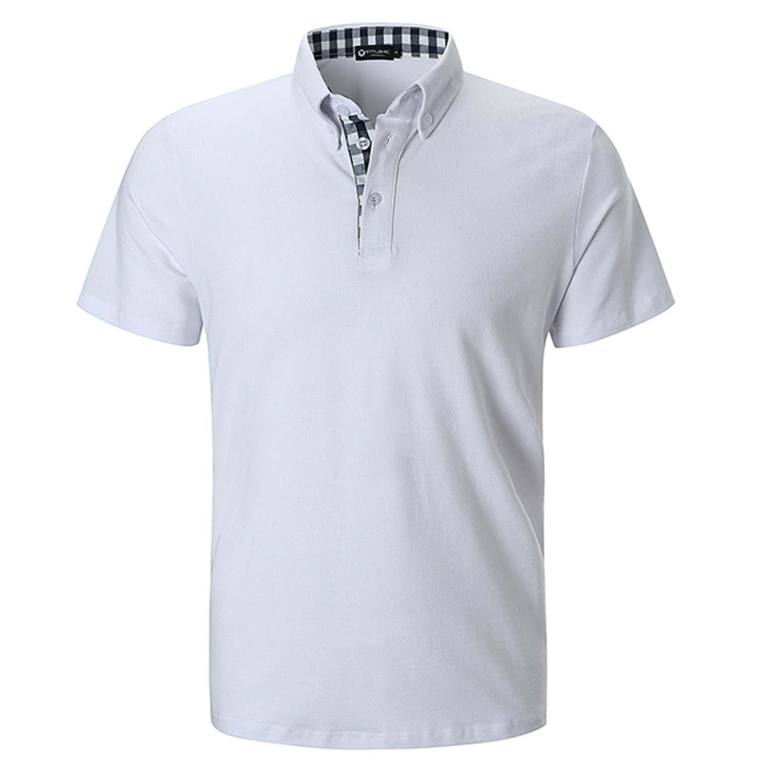 STTLZMC Men's Short Sleeve Polo Shirts Casual Fit Golf Solid Color Tops,White,Large