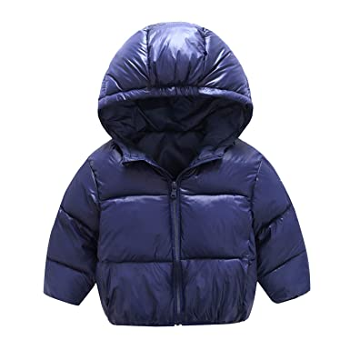 64722f3e2bef Baby Boys Girls Light Hooded Down Jacket Winter Warm Quilted Coat Zipper  Puffer