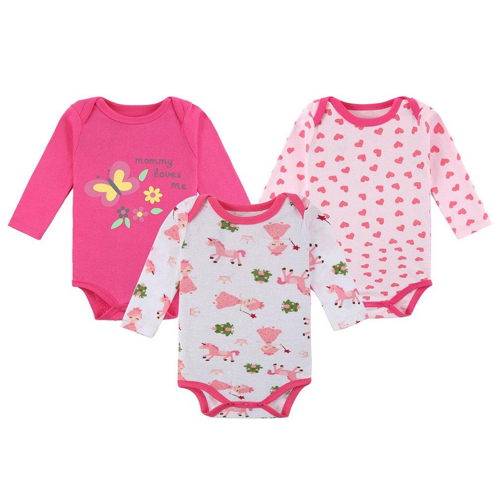 Baby Girls 6-Piece Cloths Sets Cotton Outfit Bodysuit Pants Infant Princess