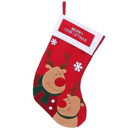 whitelotous christmas stockings plaid santa claus decor storage bag elk - Amazon Christmas Stockings
