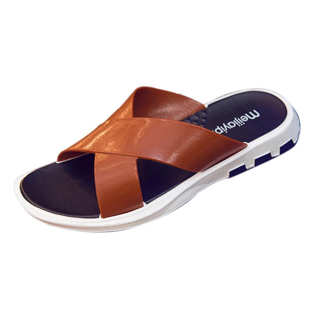 メンズサンダル、dainzuy大人用ファッションフラットラウンドトウサンダルビーチ靴スライド US:6.5 EU:40 ブラック Dainzuy01 B07D4KQTJ6  ブラウン US:6.5 EU:40