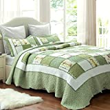 "Printed Quilt Coverlet Set Bedspread Twin(68""x86"") Green Ruffle Lightweight Hypoallergenic Microfiber by Bedsure"