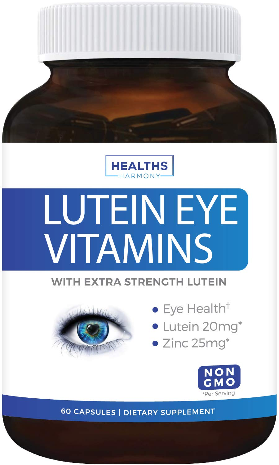Lutein Eye Vitamins (Non-GMO) Vision Support Supplement for Dry Eyes & Vision Health Care - Bilberry - Proudly Made in The USA - 60 Capsules by Healths Harmony