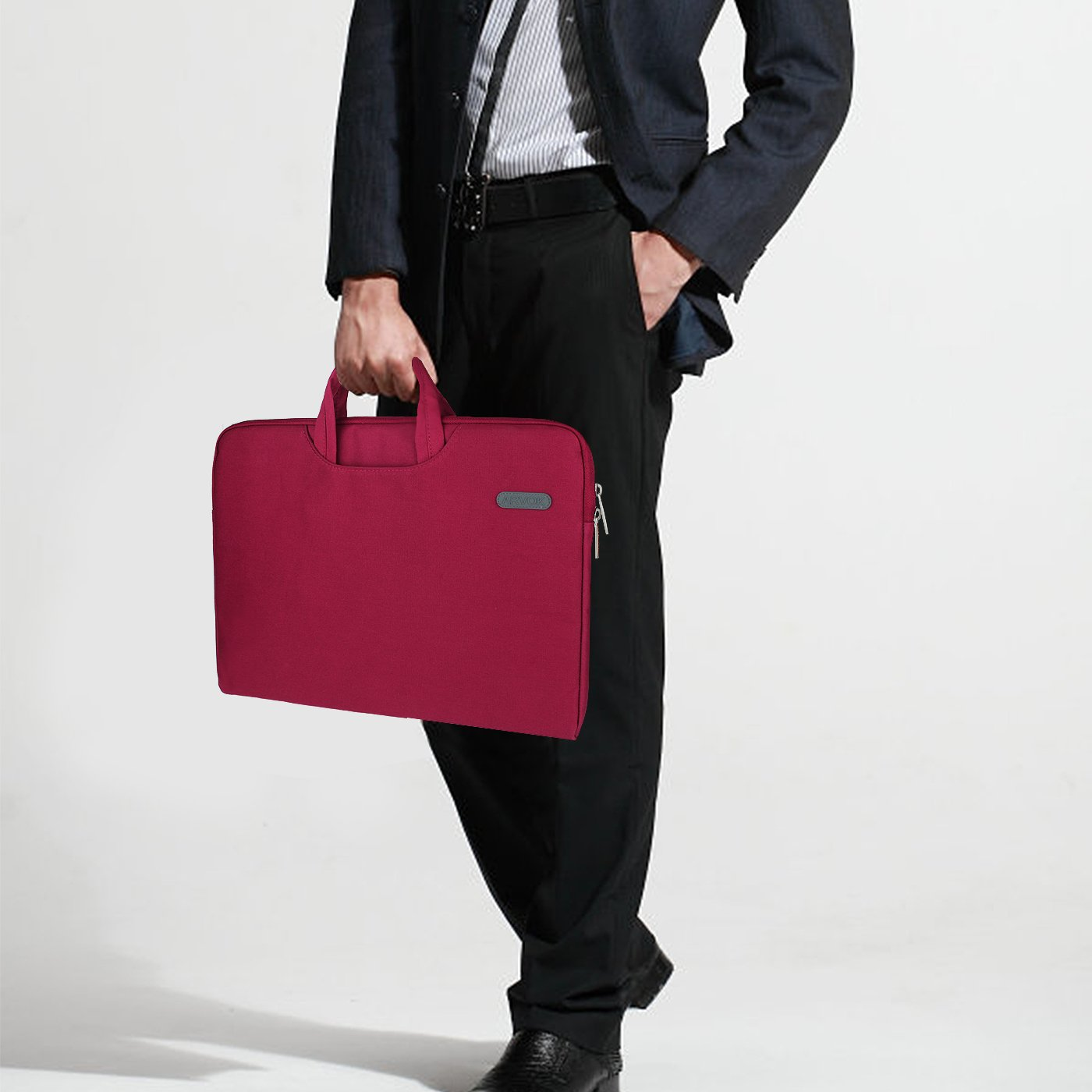 Arvok 15 15.6 16 Inch Water-resistant Canvas Fabric Laptop Sleeve With Handle&Zipper Pocket/Notebook Computer Case/Ultrabook Briefcase Carrying Bag/Pouch Cover For Acer/Asus/Dell/Lenovo/HP,Wine Red by ARVOK (Image #2)