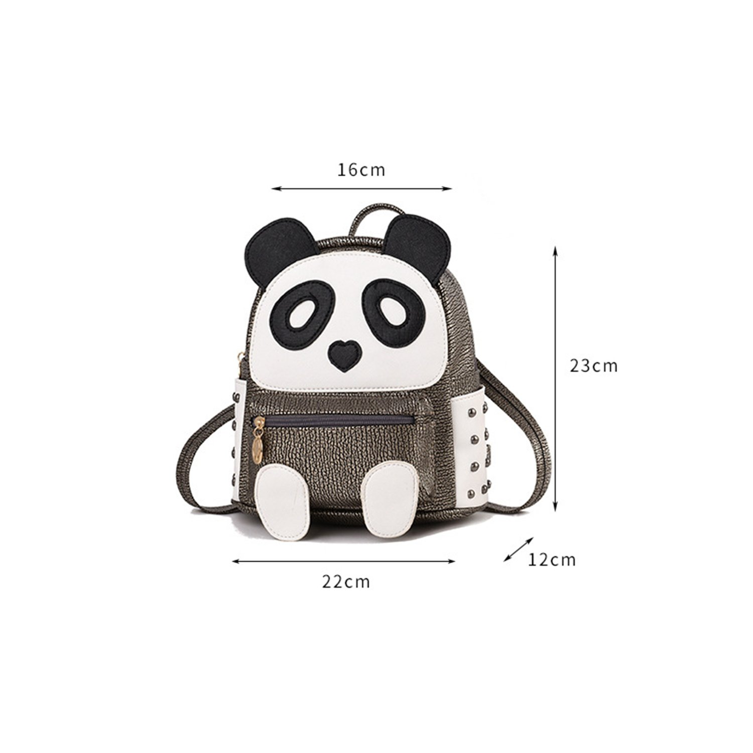 H&N Fashion PU Rivet Bronze Mini Casual Style Panda Backpack/ Shoulder/ Book Bag by H&N (Image #6)