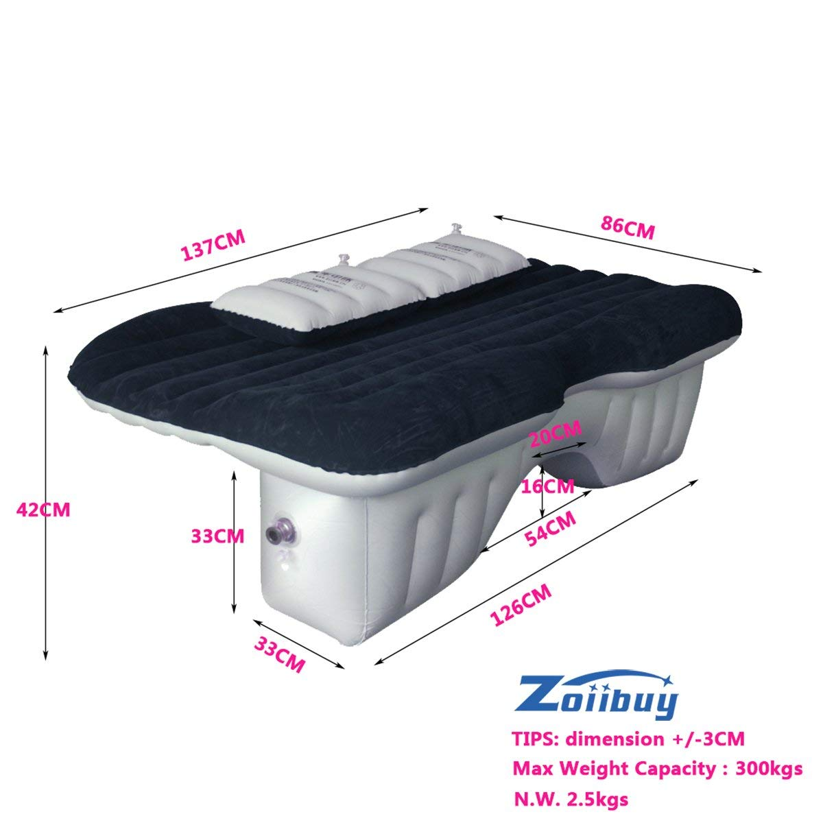 ZOIIBUY Car Inflatable Mattress Portable Travel Camping Air Bed Foldable Couch with 2 Pillows and Air Pump