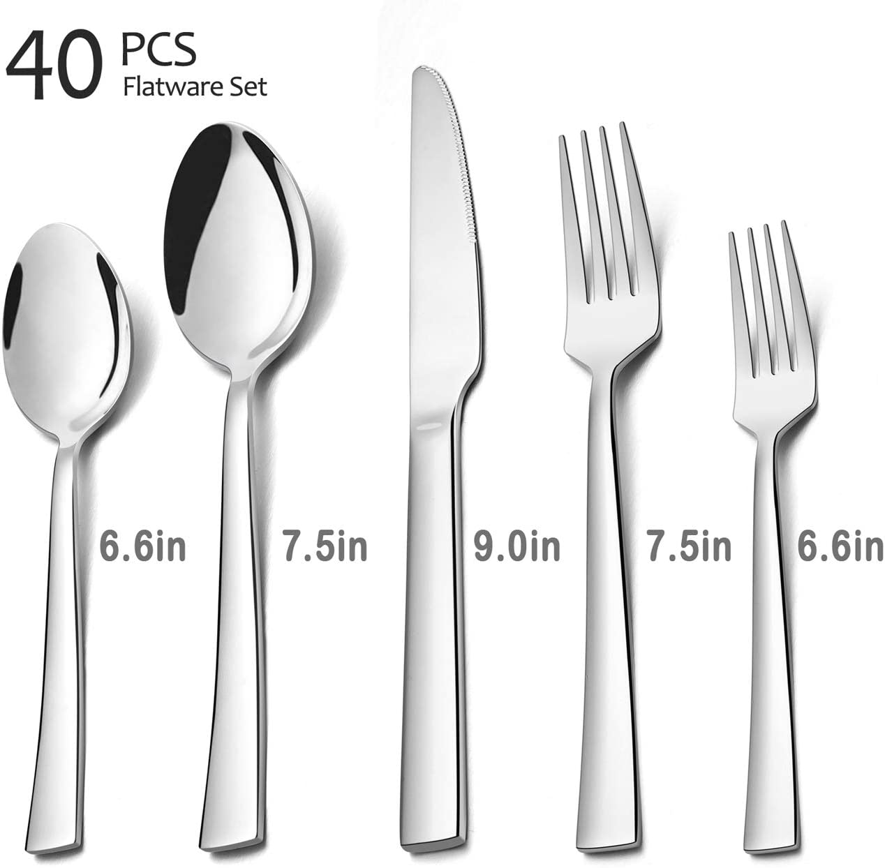 Includes Knives//Forks//Spoons Elegant Stylish Eating Utensils Service for 8 Dishwasher Safe 40 Pieces Silverware Set Mirror Polished HaWare Stainless Steel Modern Flatware Cutlery Set