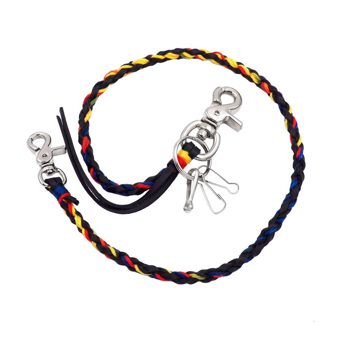 Uniqsum Braided Genuine leather wallet chain Swivel Trigger snap Biker Punk Key chain (Vivid Black)