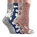 Women Casual Socks Animal Design Cartoon Socks Pack of 4 Bunny + Elk