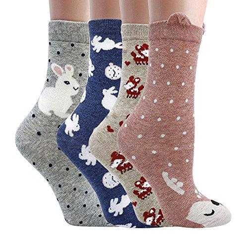 Women Casual Socks Animal Design Cartoon Socks Pack of 4 Bunny + Elk (Socks Rabbit)