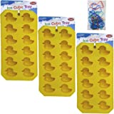3-Piece Rubber Ducky Mold Tray Value Set - 3 Rubber Ducky Plastic Synthetic Trays Molds for Ice Cubes, Jello Jiggler Molds, Chocolate Molds and Soap Molds - Great Christmas Gifts for 2013