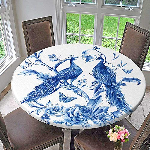 PINAFORE HOME Circular Table Cover Vintage Blue Pair of Peacocks with Roses, Precious Crystals and Butterflies for Wedding/Banquet 63