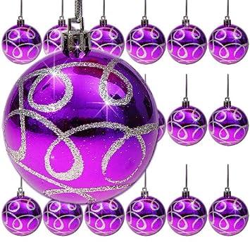 18 boules de Noel violettes motif argenté decoration sapin de Noel ...