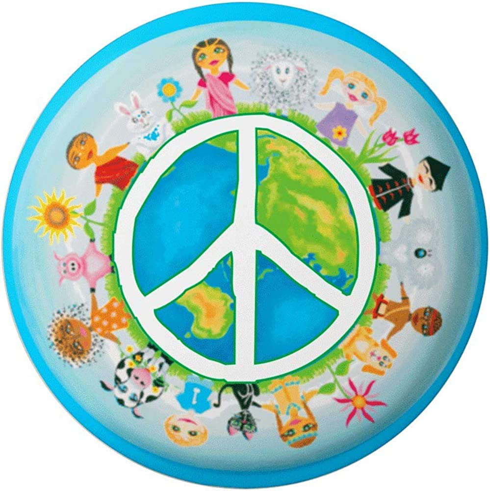 Peace Sign over Earth with Children - World Peace, Diversity Button/Pinback 1.75 Inches