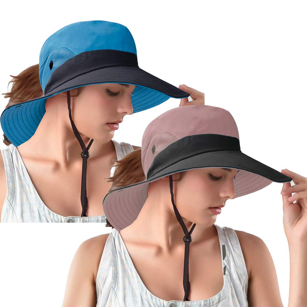 Ponytail Sun Bucket Hats for Women UV Protection Foldable Mesh Wide Brim Hiking Beach Fishing Summer Safari(2PACK(Pink/Blue))